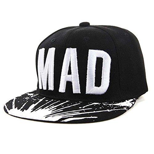 Vovotrade®Trend Hat Snapback Cap Casquette De Baseball Snapback Cap Kid Boys Girls Letters Casquettes De Baseball Plat Hip Hop Caps (Black)