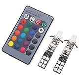 SANON 2X H1 12Smd 5050 Rgb Led Faro Fendinebbia per Auto + Telecomando a 24 Tasti...