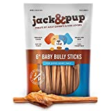"""Jack&Pup Bully Sticks for Small Dogs - 6 Inch Odor Free Baby Bully Stick Dog Chew (30 Pack) 6"""" Long Premium Grade All Natural Gourmet Puppy Treat Chews - Great for Teething Puppies (30 Pack)"""