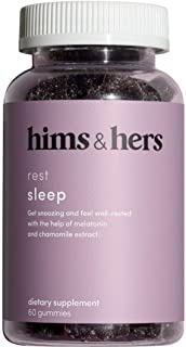 HIMS & Hers Sleep Gummies Melatonin Pomegranate Berry Flavor with Chamomile Extract and L-theanine. 60 Gummies. 1 Pack