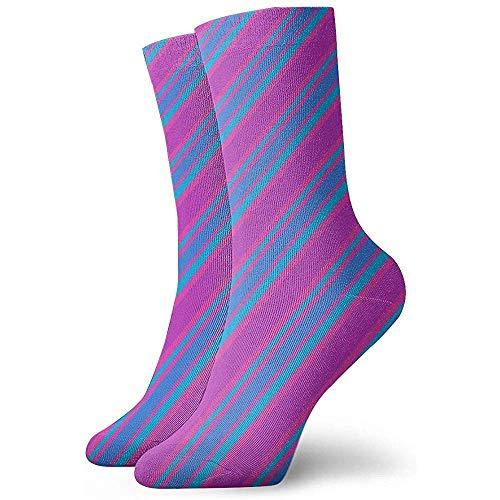 Be-ryl Chaussettes CompressionChaussettes Décontractées, Robe Chaussettes Longues pour Unisexe - Rayures diagonales Magenta Violet Bleu Vif