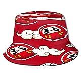 TTLUCKY Sombrero de Pesca,Japón Kawaii de Patrones sin Fisuras con Nubes y muñeca Daruma,Senderismo ...