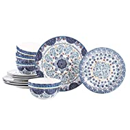 Bico Blue Talavera Ceramic 12 pcs Dinnerware Set, Service for 4, Inclusive of 11 inch Dinner Plates, 8.75 inch Salad Plates and 26oz Cereal Bowls, for Party, Microwave & Dishwasher Safe
