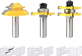 Nxtop Tongue and Groove Router Bit Tool Set ½'' Shank With 45° Lock Miter Bit ½'' Shank - Solid Steel, Anti Kickback Design, Easy Operation - For Doors, Tables, Shelves, Walls, DIY Woodwork & More