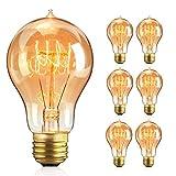 BODI Bombilla Edison vintage A19, 6 unidades, bombilla de filamento retro, color blanco cálido, E27 A19, 40 W, bombilla antigua, lámpara decorativa, ideal para iluminación nostálgica y retro