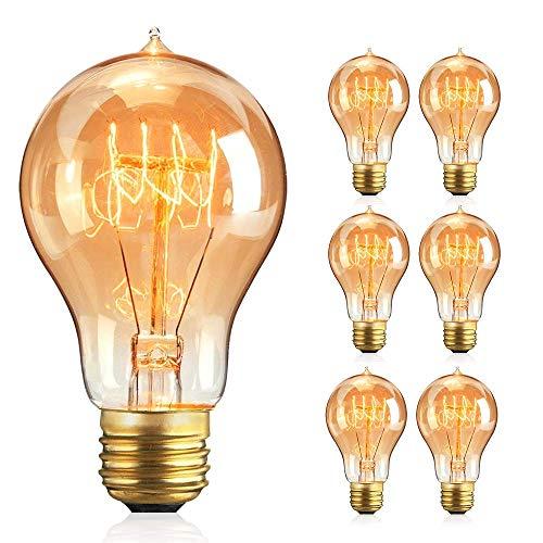BODI Edison Vintage Glühbirne A19, 6 Stück Retro Edison Filament Lampe Warmweiß E27 A19 40W Retro Glühbirne Antike Glühlampe Licht Dekorativ Lampe Ideal für Nostalgie und Retro Beleuchtung