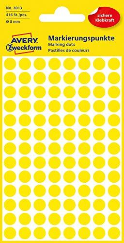 AVERY Zweckform 3013 selbstklebende Markierungspunkte 416 Stück (Ø8mm, Klebepunkte auf 4 Bogen, Punktaufkleber zur Farbcodierung, runde Aufkleber für Kalender, Planer und zum Basteln, Papier) gelb