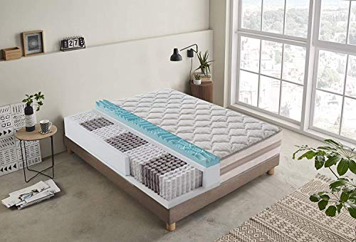 Square and Half Mattress with Independent Pocket Springs Removable and 5 cm Memory with 9 Differentiated Zones Height 25 cm Orthopedic - Ergonomic - Antibacterial (120x190)