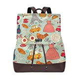 Flyup Women Leather Set Of Paris Symbols Backpack Purse Travel Schoolbag Shoulder Bag Casual Daypack Mochila de cuero para mujer