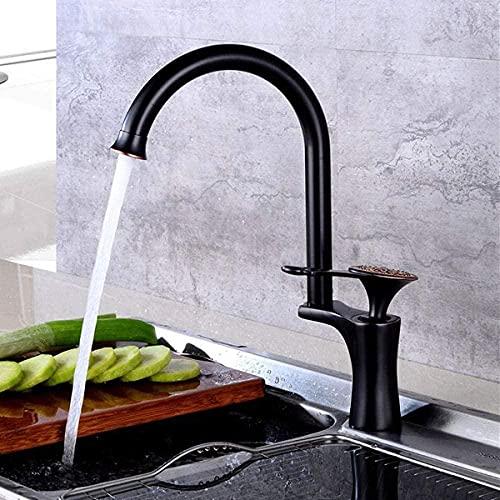 Montaje de latón, oro rosa, fregadero de cocina, mezcladores, fregadero giratorio, grifo de agua fría y caliente-Rose_Gold-Black_ ()