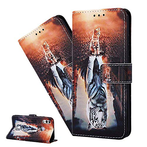 LEMAXELERS OPPO Realme 6 Case OPPO Realme 6 Cover Cute Lake Cat Tiger PU Leather Flip Notebook Wallet Case Magnetic Stand Card Slot Folio Bumper Case for OPPO Realme 6,YB Lake Cat Tiger