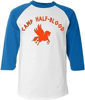 Shop4Ever Camp Half Blood Orange Baseball Shirt Cool Demigods Raglan Shirt
