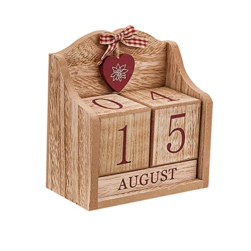 Calendario perpetuo de madera con bloques rectangulares, accesorio para el escritorio, día chic, mes para casa y oficina