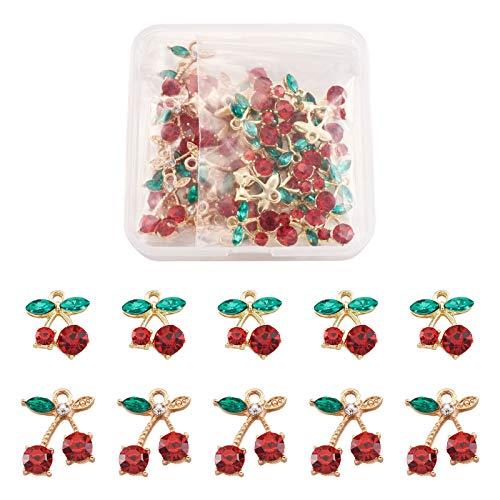 Cheriswely, 40 ciondoli a forma di ciliegia, in lega di cristallo, 2 stili, con strass e ciliegia, placcati oro, per gioielli, collane, artigianato