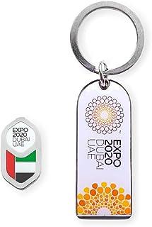 Expo 2020 Dubai White Bottle Opener and UAE Flag Pin Silver Pack of 2