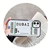 HOUBL New York Los Angeles Paris Tokyo City Label - Carcasa para iPhone X XS MAX 11 Pro XR 7 8 Plus funda para boletos de avión de viaje (para iPhone 8Plus, DuBai)