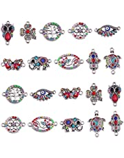 20pcs Antique Silver Mix Style Elephant Tree of Life Owl Evil Eye Flower Enamel Rhinestone Diamond Beads Charms Jewelry Connectors for DIY Bracelet Necklace Jewerly