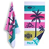 Surfwaii Plush Oversized Beach Towel - Thick Cotton 35 x 70 Inch Blue Stripe Cabana Towel, Large Zig Zag Pool Swimming Bath Towel (Blue)
