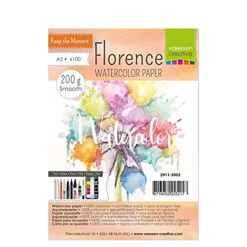 Vaessen Creative Papel de Acuarela Florence Prensado en Caliente A5, Marfil, 200 gsm, Calidad de Artista, Superficie Lisa, 100 Hojas para Pintar, Handlettering, Proyectos de Arte