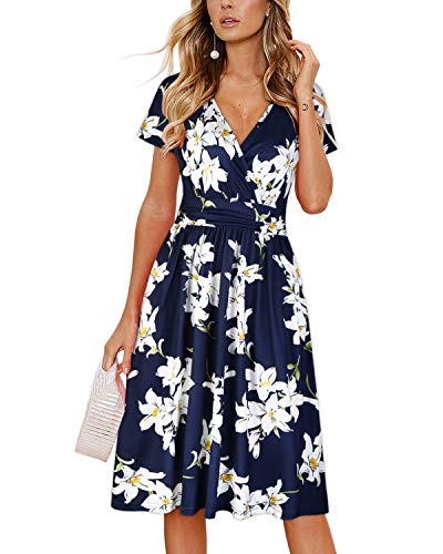 OUGES Women's Summer Short Sleeve V-Neck Floral Short Party Dress with Pockets(floral01,L)
