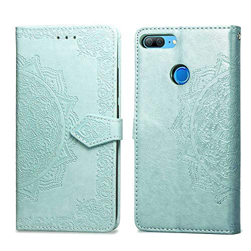 Bear Village Hülle für Huawei Honor 9 Lite, PU Lederhülle Handyhülle für Huawei Honor 9 Lite, Brieftasche Kratzfestes Magnet Handytasche mit Kartenfach, Grün