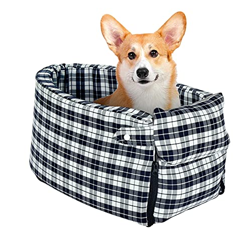 laamei Dog Car Seat Pet Car Booster Seats Non-Slip Breathable Folding Soft Washable Travel Bags for Small Dogs Cats or Other Small Pets Three Forms in...