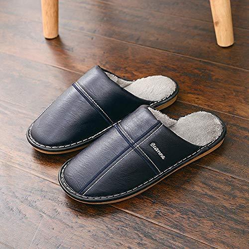 Nwarmsouth Zapatos de Zapatillas de Lujo para Hom,Zapatillas Impermeables de Invierno, Zapatos de algodón cálido Antideslizantes-Blue_40-41,Caliente Suave Antideslizante Slippers