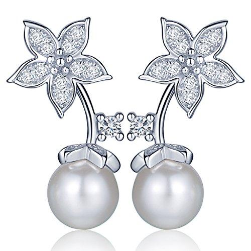 Yumi Lok 925plata de ley circonitas perlas flores pendientes pendientes pendientes Jackets joyas para mujer mujeres niña