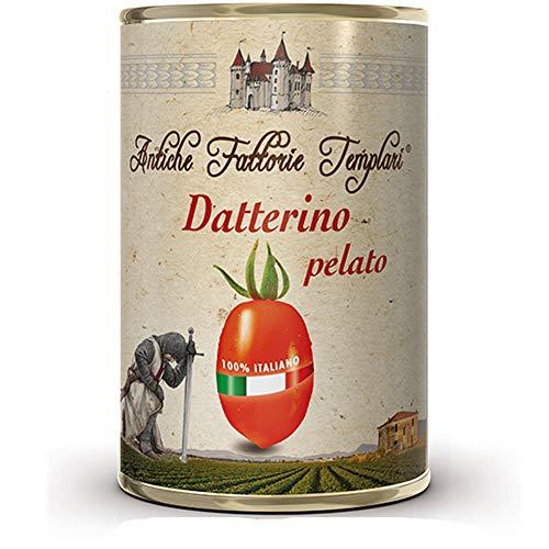 Datterino Pelato   Antiche Fattorie Templari   12 Barattoli da 400 Gr   Gluten Free   Agricoltura Biologica   Certificato Eccellenze Alimentari   Pomodori del Cilento e Piana del Sele   Idea Regalo