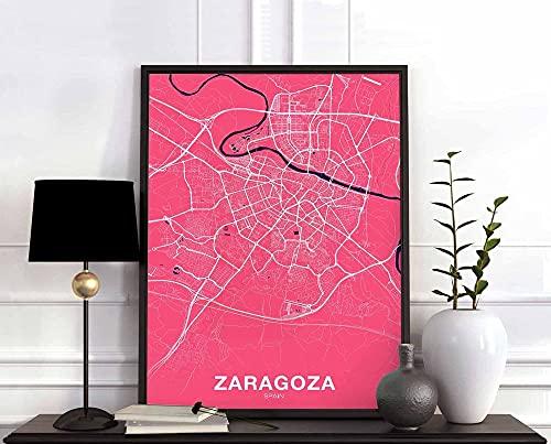 MG global Póster de mapa de España de Zaragoza en color ciudad natal impresión moderna decoración del hogar decoración de la oficina arte de pared dormitorio regalo sin marco