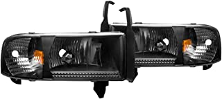 Winjet Headlights Compatible With 1994-2002 Dodge Ram 1500 2500 3500 | Black Clear Head Lamps Off Road Driving Light | 1995 1996 1997 1998 1999 2000 2001