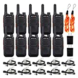 Retevis RT69 Walkie Talkies Long Range,Two-Way Radios Rechargeable,2 Way Radio with Earpieces,Mini Small VOX Flashlight,Adults Waiters Business School Warehouse(10 Pack)
