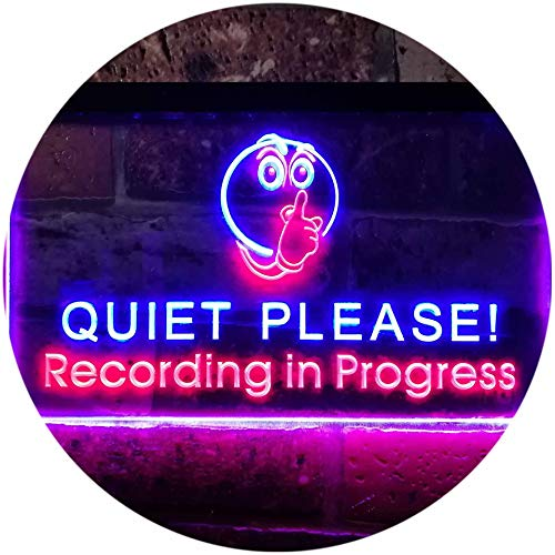 ADV PRO Recording in Progress Quiet Please On Air Studio Dual Color LED Barlicht Neonlicht Lichtwerbung Neon Sign Rot & blau 300 x 210mm st6s32-m0096-rb