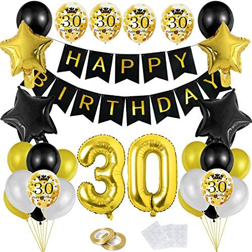 Bluelves 30 Geburtstag Dekoration Schwarzes Gold Ballons, Geburtstag Deko mit Happy Birthday Banner Konfetti Luftballons Herz Folienballons für Mädchen Mann Frau JungenParty