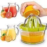 Exprimidor Naranjas Profesional de Plástico 4 en 1 Exprimidor de Limón/Cítricos con Recipiente Esprimidores Exprimidora de Zumo Limon 4 en 1 Exprimidor Zumo Manual para Naranja Limón Lima y Cítricos