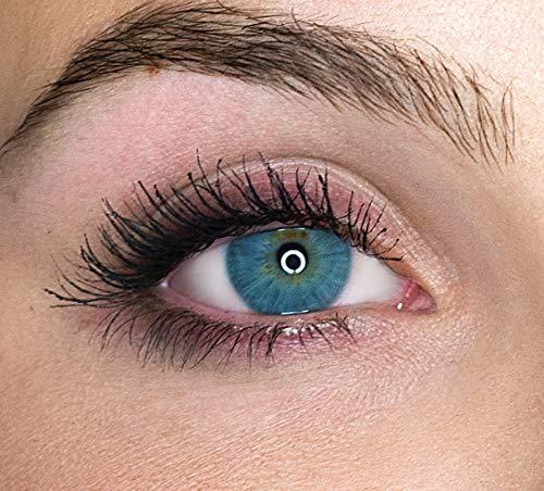 Kontaktlinsen farbig ohne Stärke farbige Jahreslinsen weiche Linsen soft Hydrogel 2 Stück Farblinsen + Linsenbehälter 0.0 Dioptrien natürliche Farben Serie Queen Graphite (grau)