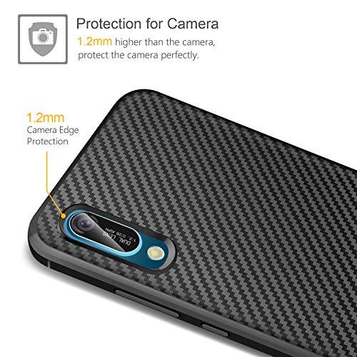 ivencase Huawei Y6 2019/Huawei Y6 Pro 2019 Hülle + Panzerglas Displayschutzfolie, Schutzhülle Silikon Schwarz Case Soft TPU Handyhülle Carbon Fiber Cover für Huawei Y6 2019/Huawei Y6 Pro 2019 - 3