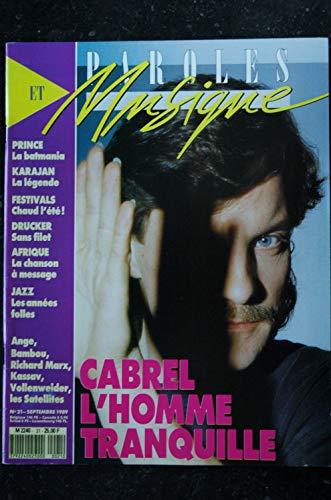 Paroles & Musique n° 21 * 1989 09 * CABREL PRINCE KARAJAN ANGE BAMBOU KASSAV TEARS FOR FEAR