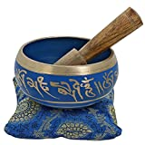 Ajuny Peque├▒o cuenco budista azul vibrante pintado a mano, viene en palo y coj├нn, ideal para meditaciones y sanaci├│n sonora de 4 pulgadas