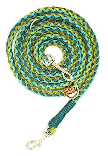 Hundeleine Balu aus Paracord, Führleine, Leaf Green - Teal Green - Moss Green - Turquoise, Handgeflochten, Individuelle Länge, Mehrfach Verstellbar, 1.5 Zentimeter breit