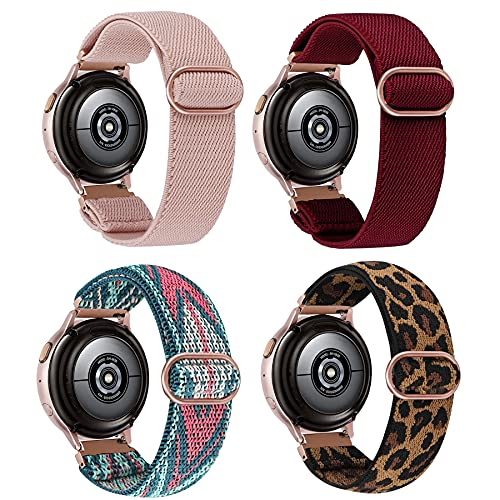 20mm Elastic Band Compatible for Samsung Galaxy Watch Active 2 Bands 44mm 40mm/Galaxy Watch Active 40mm Women Girls Stretchy Loop Nylon Strap for Samsung Galaxy Active 2 Watch Band/Galaxy Watch 42mm