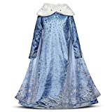 Niñas Cosplay Vestido de Princesa con Capa Manga Larga Vestido Largo Disfraz Azul Dulce Disfraz Ceremonia de Fiesta Halloween Navidad 3-10 Años (5-6 años, 116cm)
