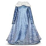 Niñas Cosplay Vestido de Princesa con Capa Manga Larga Vestido Largo Disfraz Azul Dulce Disfraz...