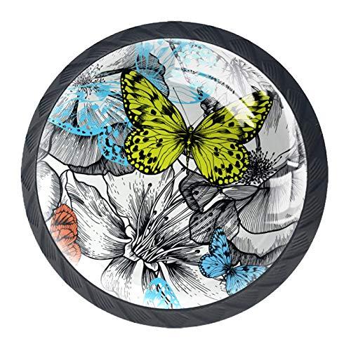 Tiradores de cajón para decoración de armario de cocina de oficina en casa,Patrones Sin Fisuras Con Flores Rosas Volando Mariposas