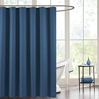 jinchan Shower Curtain for Bathroom Waterproof Waffle Woven Textured with Rust-Resistant Metal Grommets Top Fabric Shower Curtain 70 x 72, Navy Blue