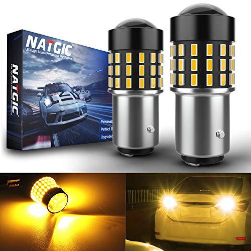 NATGIC 1157 BAY15D p21/5w 7528 Bombillas LED 3014SMD 54-EX Chipsets con proyector de Lentes para Luces de Intermitentes, Luces de Respaldo, ámbar 12-24V (Paquete de 2)