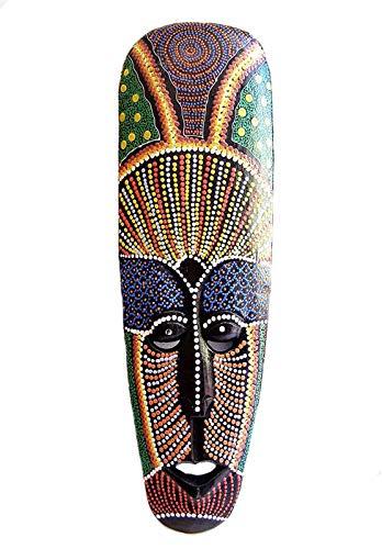 Estilo aborigen máscara pintada con puntos, pintado a mano madera 50cm Altura colgar en la pared