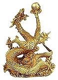FGUD Feng Chino Shui dragón latón Estatua Estatua Escultura Ornamentos coleccionables Riqueza y éxito Buen Suerte Regalos Domicilio Oficina Mesa de Mesa