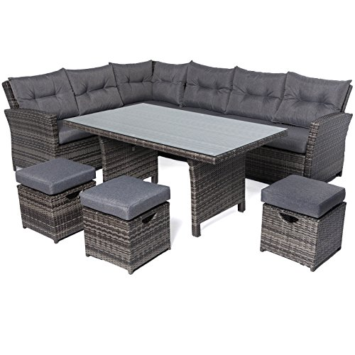 Oren Napoli 6-9 Seater Rattan High Back Corner Sofa Dining Set - Grey Flat Weave with Grey Cushion