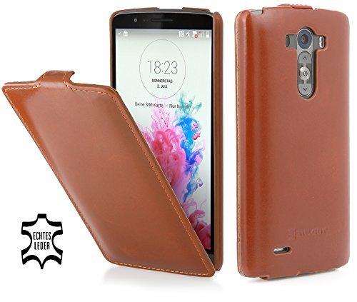 StilGut® UltraSlim Hülle, Tasche aus Leder für LG G3, Cognac